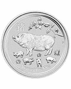 Australien Lunar II Schwein 2 oz Silbermünze 2019